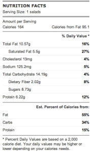 blackberry goat cheese salad nutrition facts